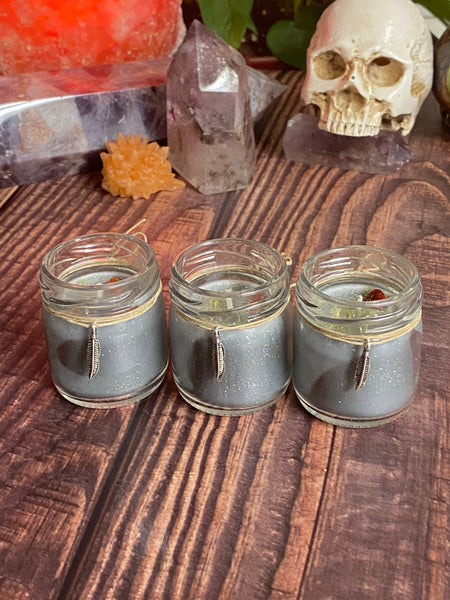 Set of 3 extra small 1oz candles in the scent Witchy Pumpkin Caramel Crunch