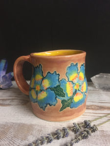 Hand painted Blue spring time flower mug