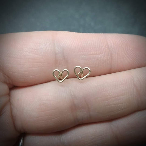 Small handcrafted Heart studs
