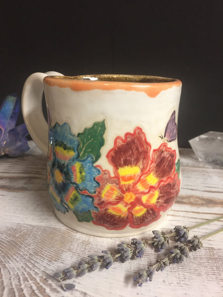Hand painted colorful spring time flower mug with butterflies