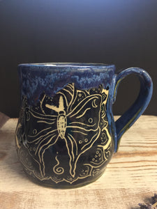 Hand-carved butterfly mug