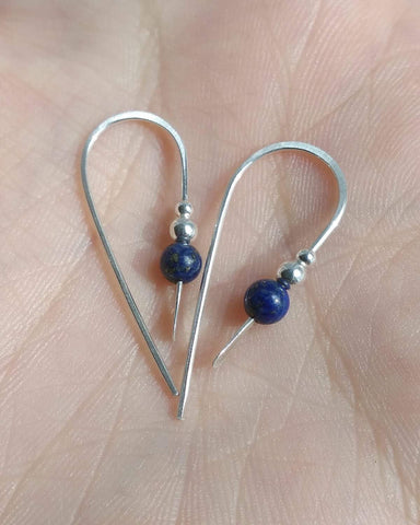 Lapis earrings made in sterling silver