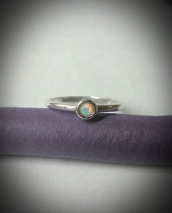 Solid sterling silver opal ring