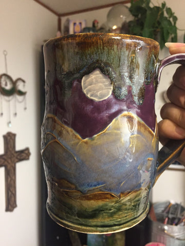 Large night fall mountain mug