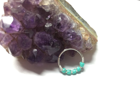 10mm hoop with Turquoise beads
