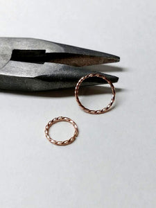 Set of 2 thin *Twisted* Rose Gold or Silver Hoops Seamless Hoop Rings