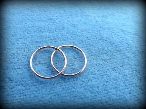 Set of 2 Extra Thin 14K Rose or 14k Yellow Gold Endless/Seamless Hoop