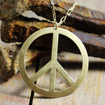 Vintage Brass Stamped Peace Sign Front