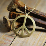 Vintage Brass Stamped Peace Sign Far