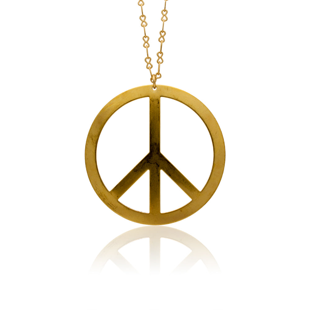 Vintage Brass Stamped Peace Sign Hanging