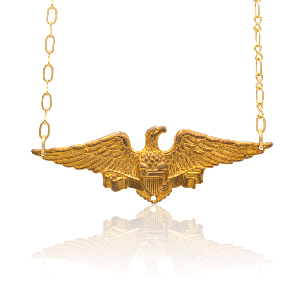 Vintage Brass Stamped Soaring Eagle Hanging