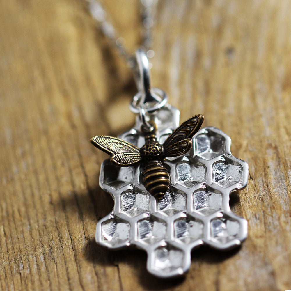 Sterling Silver Honeycomb with Bee Charm