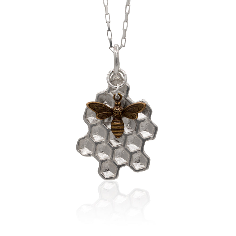 Handmade Sterling Silver Honeycomb with Bee Charm hanging