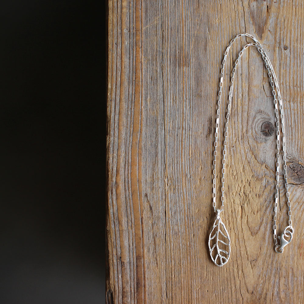 Handmade Sterling Silver Leaf - Narrow full image