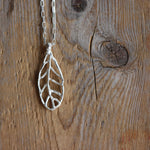 Handmade Sterling Silver Leaf - Narrow straight on close up