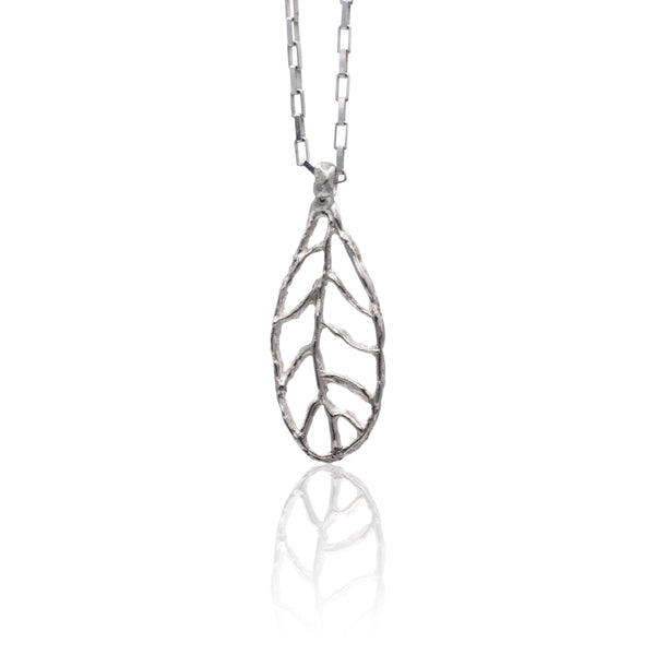 Handmade Sterling Silver Leaf - Narrow hanging