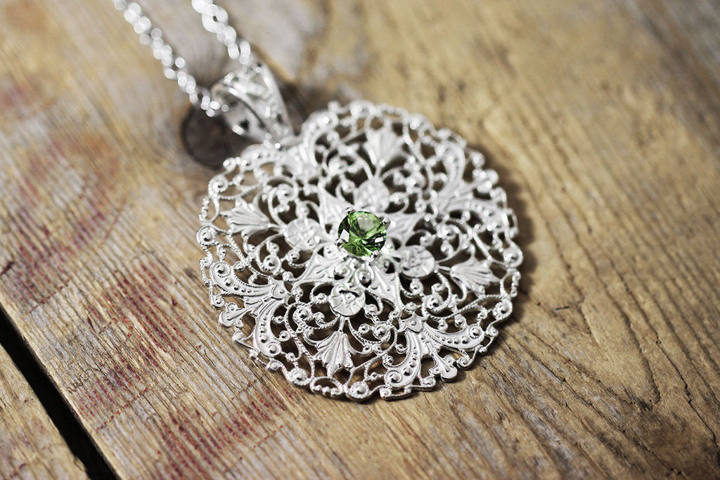 Handmade Sterling Silver Filigree with 2000 Year Old Faceted Roman Glass Green Angle