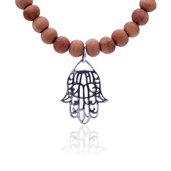 Sandalwood Mala with Sterling Silver Hamsa Hanging