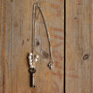 Vintage Skeleton Key with Fresh Water Pearls Full