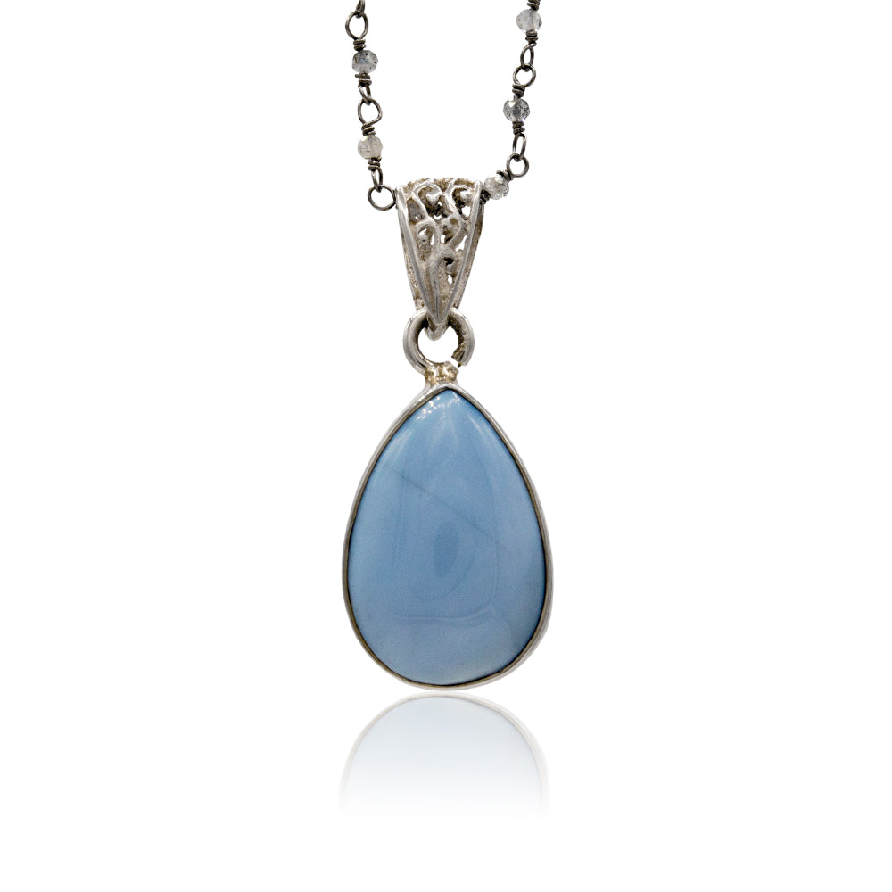Cabochon Blue Agate Teardrop Hanging