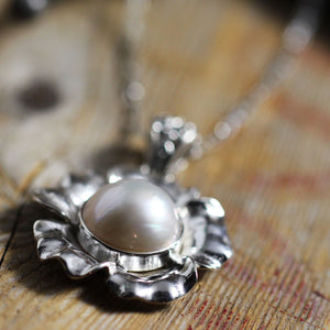 Glass Pearl in Sterling Silver Flower Close