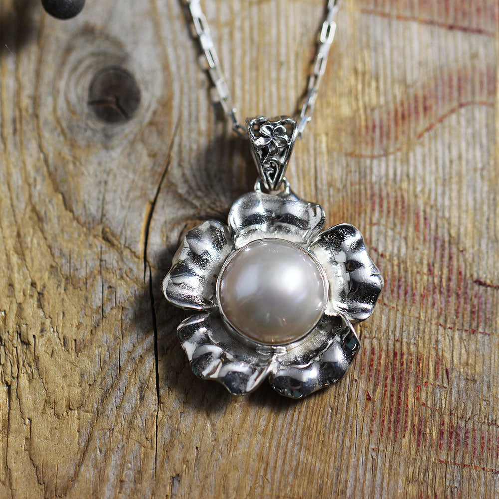 Glass Pearl in Sterling Silver Flower Front