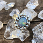 Sterling Silver Dots Australian Opal Crystal Ring