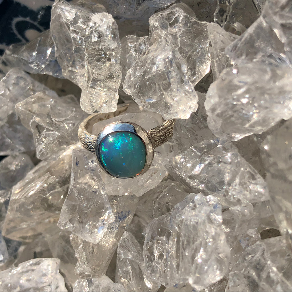 Ethiopian Welo Opal Crystal with Textured Sterling Silver