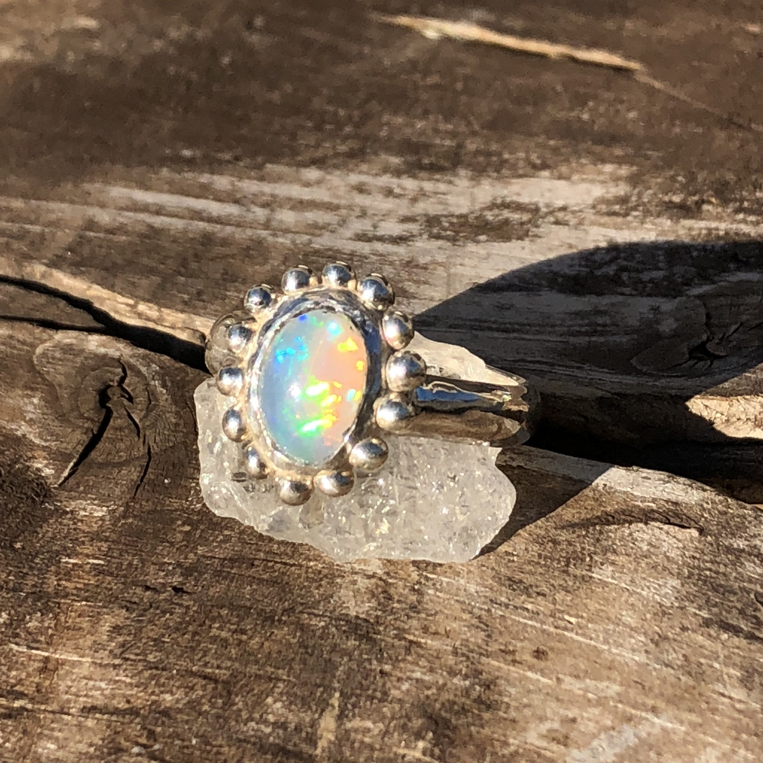 Sterling Silver Dots Ethiopian Welo Opal Crystal Ring