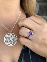 Sterling Silver Amethyst Hexagon Ring