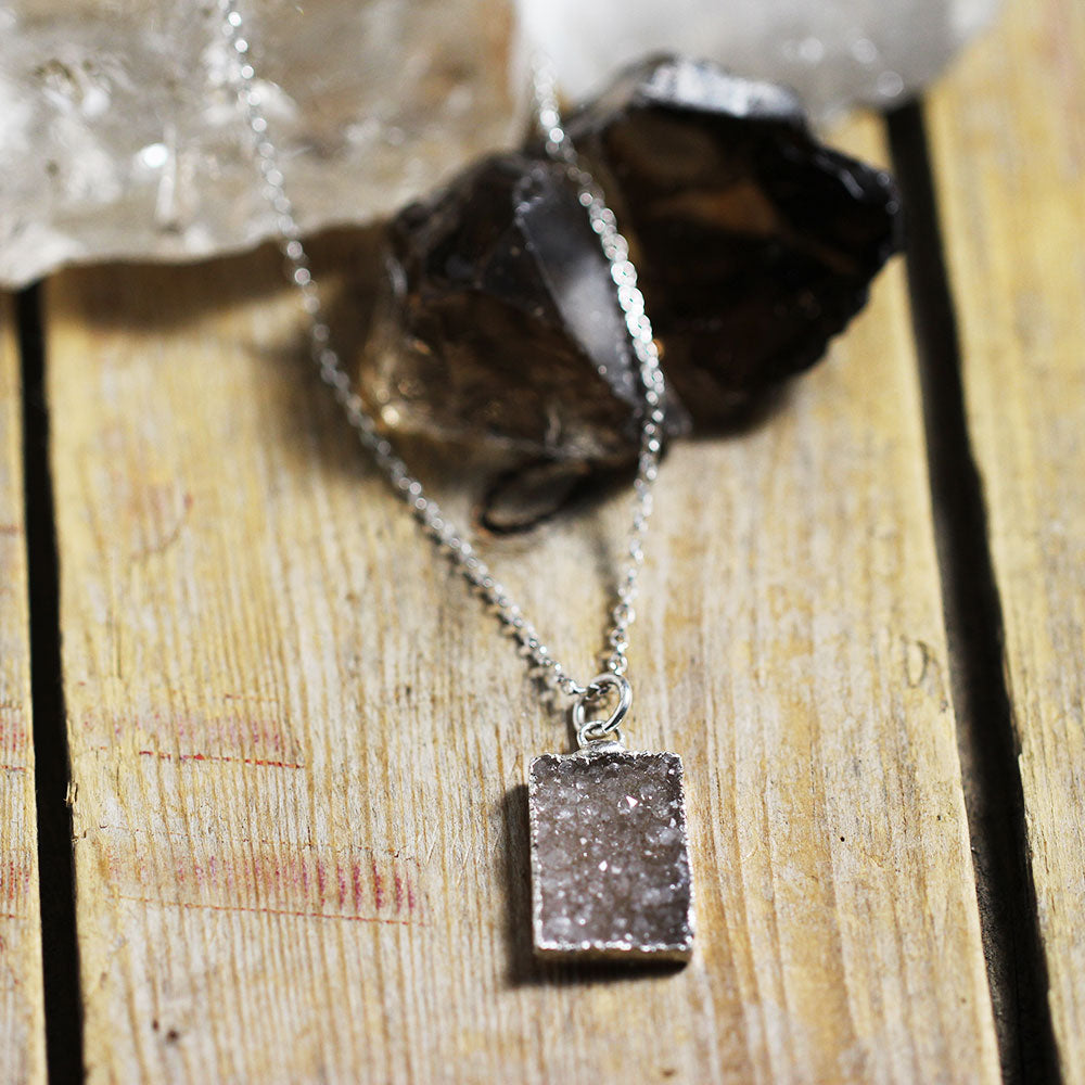 Druzy Stone Rectangle with Crystals