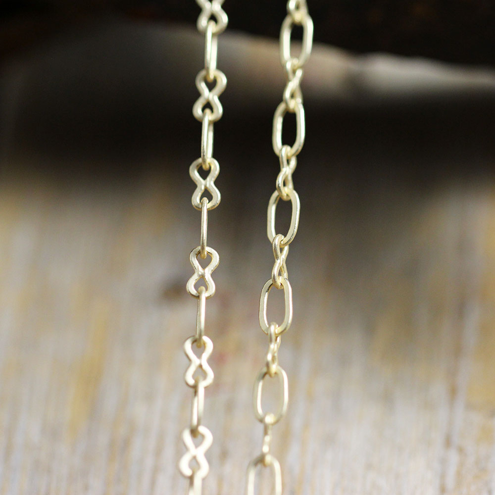 Vintage Brass Stamped Peace Sign Chain