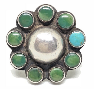 OLD PAWN Sterling Silver Turquoise DOME Ring Native American Size 5