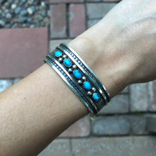 MARY JOE Sterling Silver Turquoise Navajo Row Cuff Bracelet Vintage
