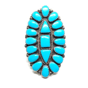 CLUSTER Sterling Silver LARGE Turquoise Native American Ring Size 11