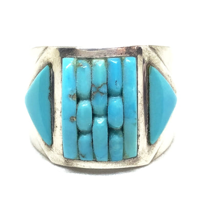 COBBLESTONE Sterling Silver Turquoise INLAY Cornrow Navajo Ring RL 6.5