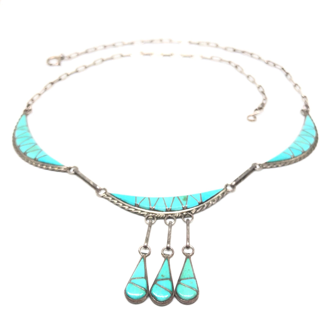 R LAIWAKETE Sterling Silver ZUNI Turquoise Inlay Collar Panel Necklace