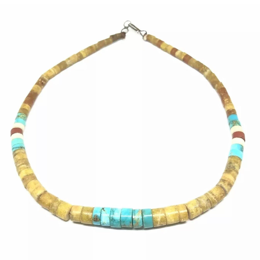 KEWA Turquoise SERPENTINE Santo Domingo Graduated Choker Necklace Vintage