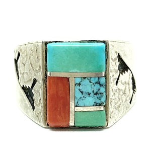 ALVIN & LULA BEGAY Sterling Silver Multistone Inlay Navajo Ring 12