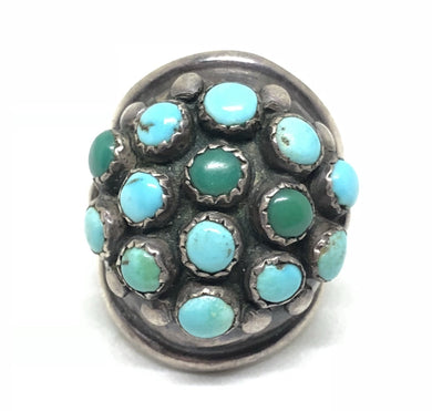 SNAKE EYE Old Pawn Zuni Sterling Knuckle Turquoise Ring
