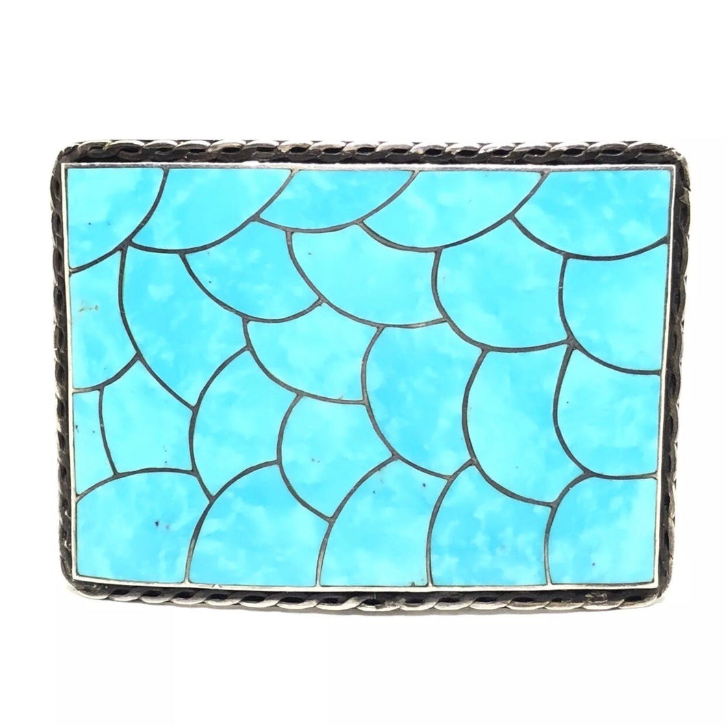 MOSAIC Sterling Silver Turquoise Inlay SCALES Belt Buckle JADOK