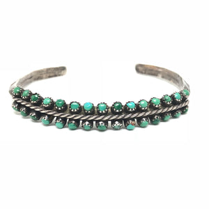 SNAKE EYE Sterling Silver Turquoise Zuni Double Old Pawn Green Cuff Bracelet