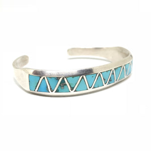 ZIGZAG Sterling Silver Turquoise Inlay Native Cuff Bracelet