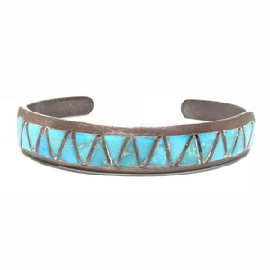 Old Pawn Sterling Silver Zigzag Inlay Turquoise Cuff Bracelet