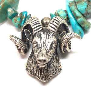 RAM Sterling Silver Turquoise NUGGET Sheep Necklace Vintage
