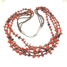 CORAL Sterling Silver Purple SPINY OYSTER Santo Domingo Necklace Vintage