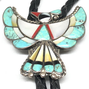 THUNDERBIRD Sterling Silver Multi-Stone Turquoise BOLO TIE Vintage Signed BL