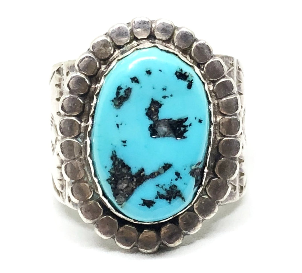 JIM WILLIAMS Sterling Silver Turquoise Navajo Mens Chunky Ring