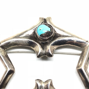 SANDCAST Sterling Silver Old Pawn Turquoise Navajo Pin Brooch
