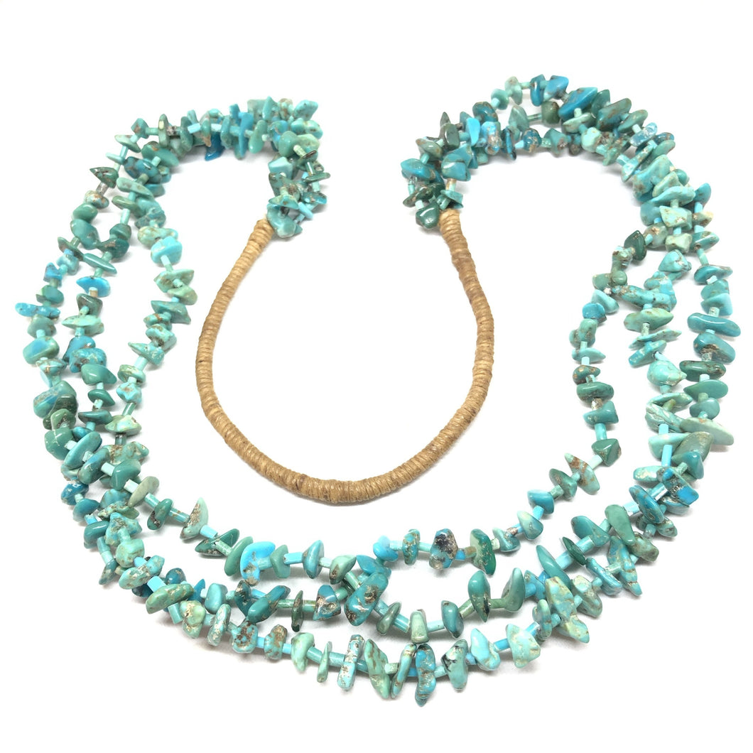 HEISHI Turquoise 3-Strand PUEBLO Native American Squaw Wrap Necklace Vintage